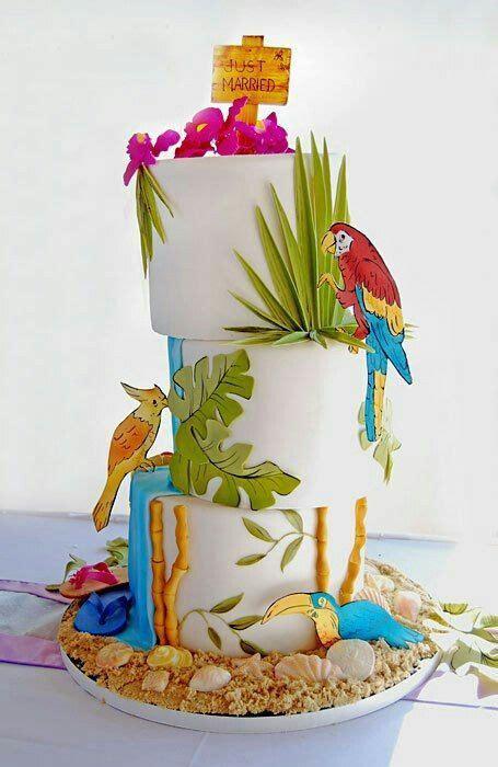 tropical birds carmi  summerparty cake luau