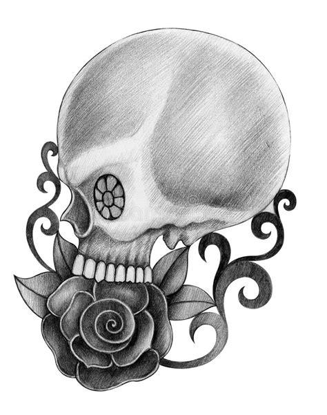 Art Skull Head Tattoo Stock Illustration Image