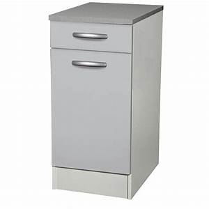 Meuble à Tiroir : meuble de cuisine bas 1 porte 1 tiroir gris aluminium ~ Melissatoandfro.com Idées de Décoration