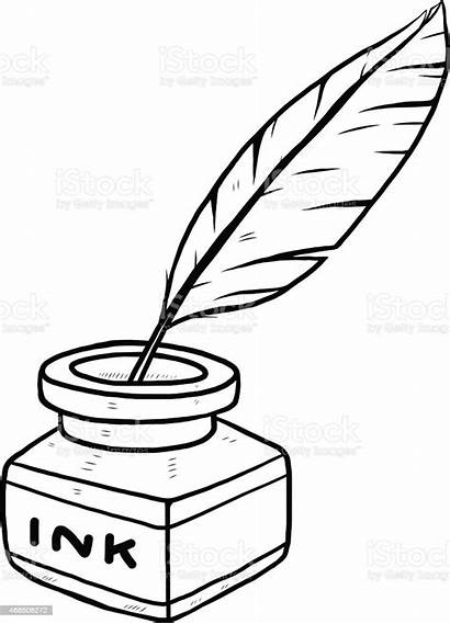 Ink Bottle Feather Drawing Quill Pen Clipart