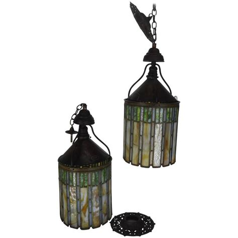 stained glass hanging light fixture i p frink stained glass hanging light fixtures for sale