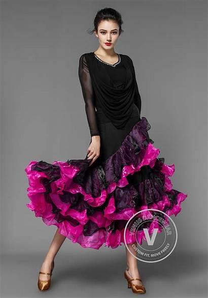 Skirt Pink Stretch Lycra Crepe Layered Ballroom