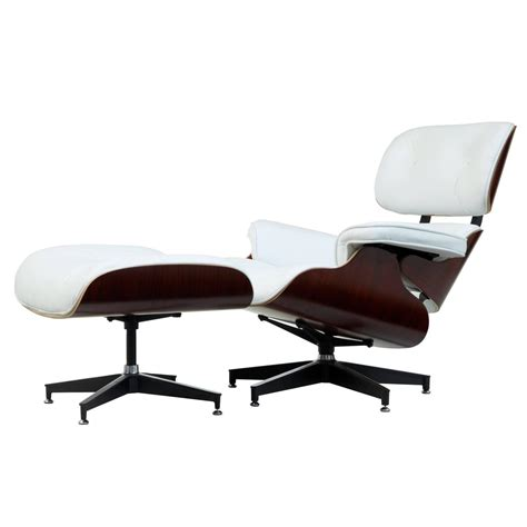 eames white leather lounge chair and ottoman at 1stdibs
