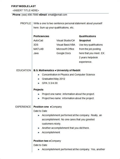 Student Resume Format by Exle Of Resume Format For Student 3 Resume Format