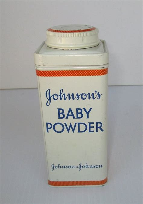 johnsons baby powder vintage  oz tin  opened