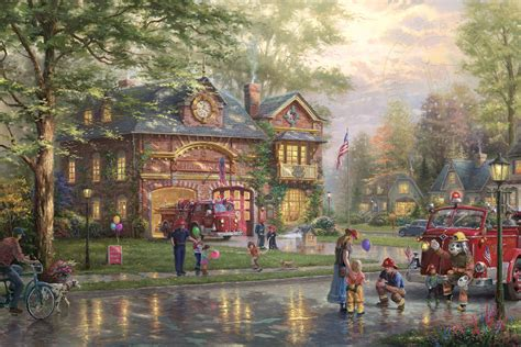 Kinkade Cottage Paintings by Hometown Firehouse Kinkade Studios