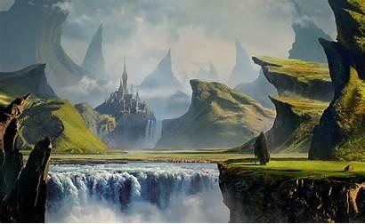 Castle Landscape Fantasy Digital Deviantart Mountain River