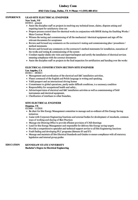 Resume Site by Electrical Site Engineer Resume Sles Velvet