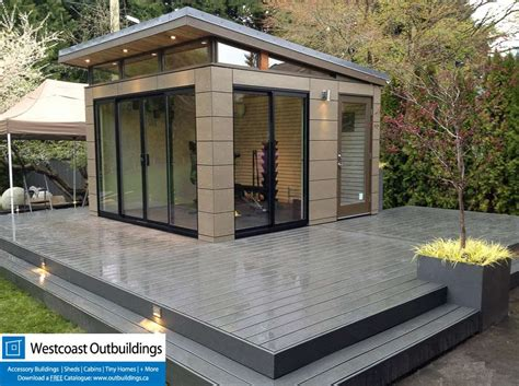 backyard outbuildings prefab workout room west vancouver modern shed