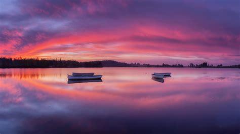 wallpaper lake rowing boats reflections nature