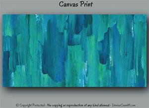 Large abstract canvas wall art print turquoise teal home
