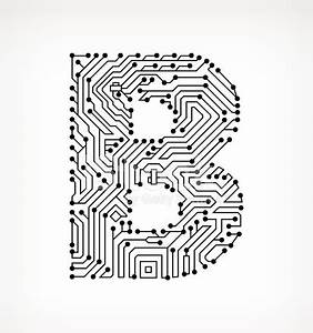 letter b circuit board on white background stock vector With circuit board medic