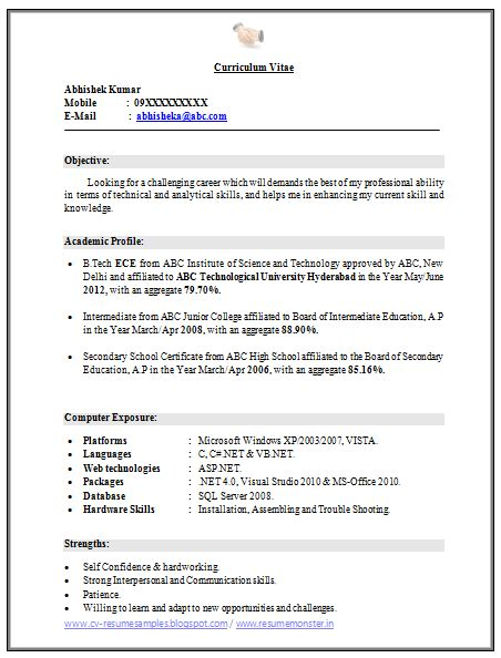 sle resume for fresher school in india 28 images