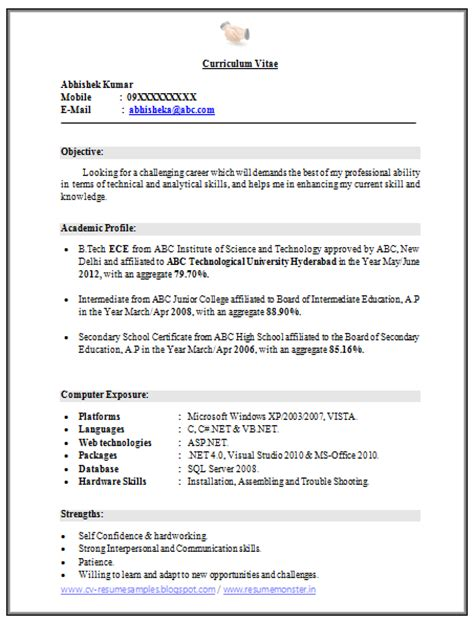 curriculum vitae template accountant cv doc over 10000 cv and resume sles with free download b tech ece fresher resume free download