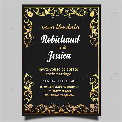 black royal wedding invitation card template psd template