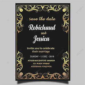 Black Royal Wedding Invitation Card Template Psd Template