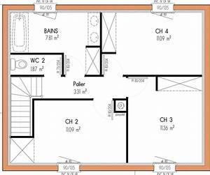 plan maison 4 chambres 1 etage With plan etage 4 chambres