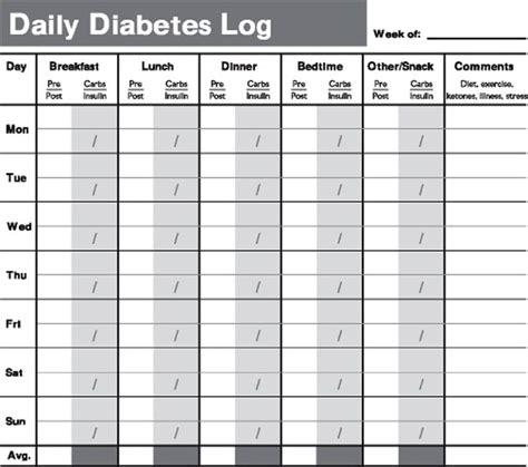 printable diabetes testing log book tracking  test