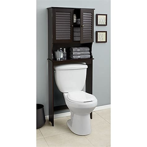 bathroom space saver cabinet buy louvre bath space saver in espresso from bed bath beyond