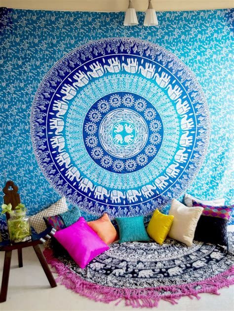 turquoise blue sun moon elephants medallion ombre wall