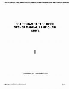 Craftsman 1 2 Hp Garage Door Manual Pdf