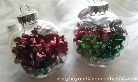 gift bows in clear glass ornaments