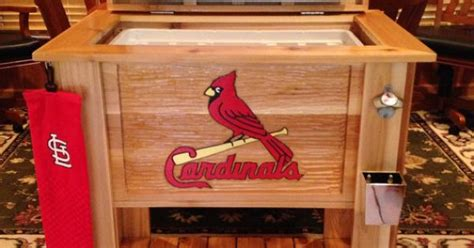 custom cedar wood cooler  hand carved mlb st louis