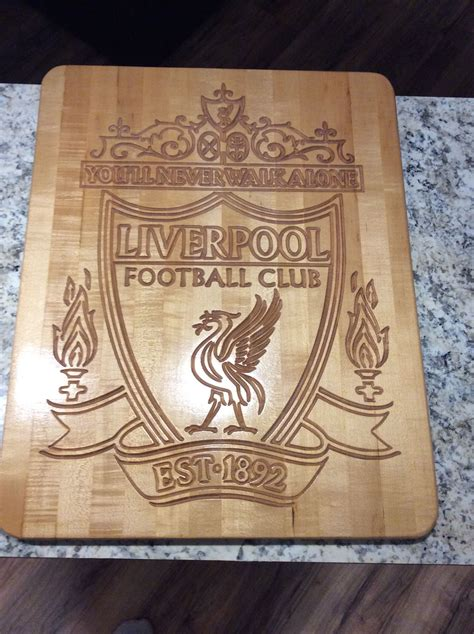 liverpool fc wooden engraved sign   cnc router signmaking skole