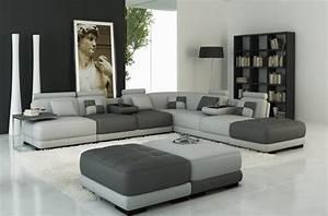 Canapé D Angle 7 Places : canap d 39 angle en cuir italien 7 8 places elixir gris ~ Melissatoandfro.com Idées de Décoration