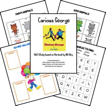 curious george unit and lapbook printables matches the 968 | 8498b1c3552d528423d0224117724d3f