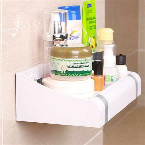 kitchen cabinets plastic simple suction cup white bathroom wall shelf plastic 3176