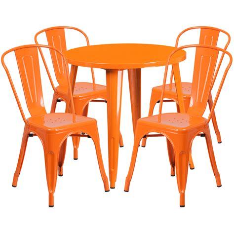 30 orange metal indoor outdoor table set with 4