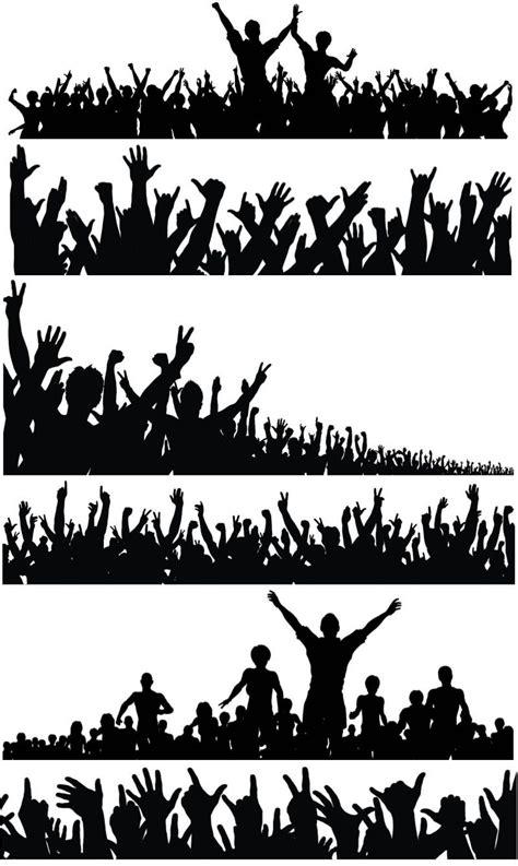 silhouette   crowd  people   hands raised