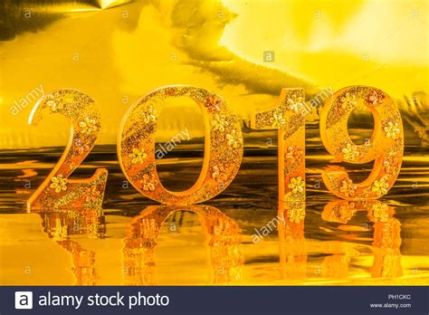 Happy New Year 2019 Is Made In Gold Color Place In Golden