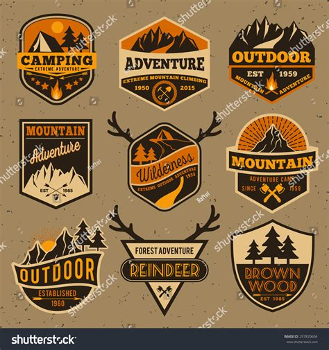 Set Summer Camping Outdoor Adventure Mountain Stock Vector