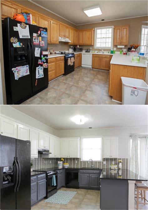repeindre cuisine en gris relooking cuisine bois en 18 photos avant après