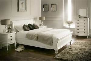 La louvier white wooden sleigh bed painted wood wooden for White painted wooden bedroom furniture