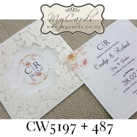 lasercut invitation cover flowers circle centre sleeve cw5197