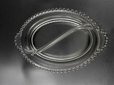 imperial glass candlewick oval divided handled relish dish