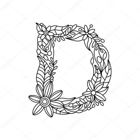 Kleurplaat Mandala Letter D by Letter D Kleurboek Voor Volwassenen Vector Stockvector