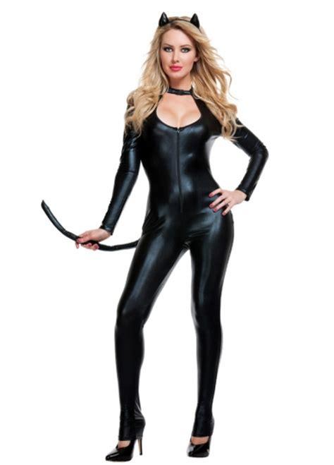 costume hallowen black 1 womens black leather cat costume