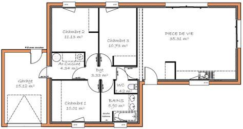 prix maison plain pied 3 chambres finest affordable plan maison m plein pied with plan