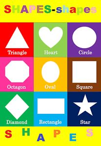 basic shapes children kids educational poster chart