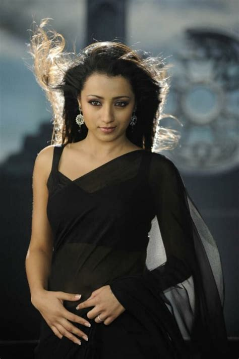 Trisha Very Hot Sexy Black Transparent Saree