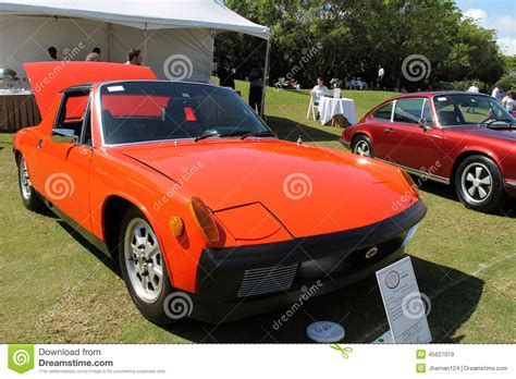 vintage orange porsche vintage orange porche at boca raton resort editorial stock