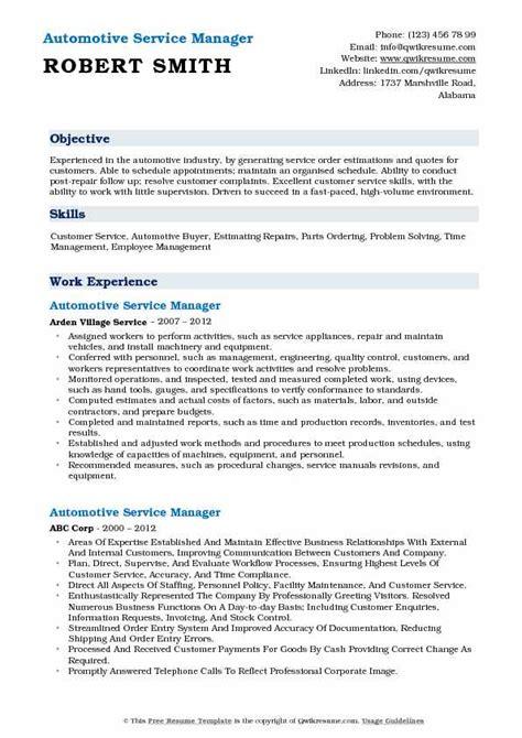 automotive service manager resume samples qwikresume