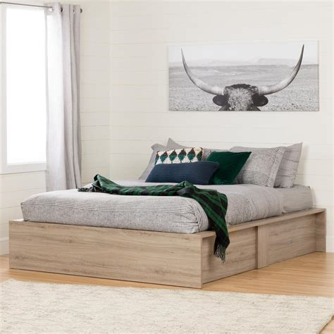 bedroom with lights south shore fusion rustic oak storage 10771 the 10771