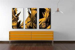 Tableau Triptyque Mural : couleur tendance du moment le jaune moutarde ~ Teatrodelosmanantiales.com Idées de Décoration
