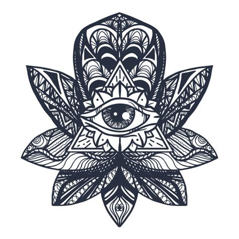 eye  lotus tattoo vector premium