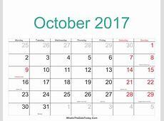 October 2017 Calendar Printable with Holidays